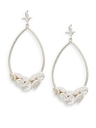 Azaara 3 5Mm White Keshi Pearl Cluster Teardrop Earrings