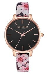 Ted Baker London Kate Leather Strap Watch 38Mm Printed Black Rose Gold