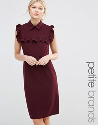 Alter Petite Pencil Dress With Frill Bib Burgandy Red