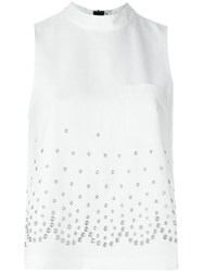 Alexander Wang Eyelet Embellished Top White