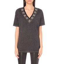 The Kooples Bead Embellished Jersey Top Dark Grey