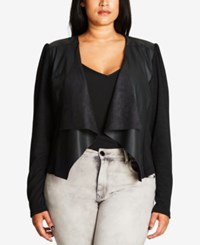 City Chic Trendy Plus Size Faux Leather Trim Cardigan Black
