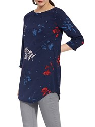 Joules Felicia 3 4 Sleeve Print Tunic Top French Navy Fay Floral