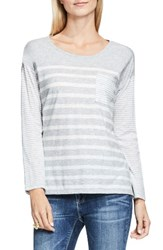 Vince Camuto Women's Two By Stripe Pocket Tee Grey Heather