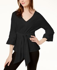 Inc International Concepts I.N.C. Petite Tie Front Top Created For Macy's Deep Black