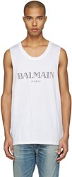 Balmain White Logo Muscle T Shirt