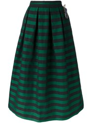 Rochas Embellished Striped Skirt Green