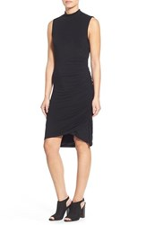 Women's Halogen Sleeveless Side Ruched Mock Neck Knit Dress