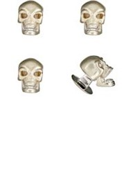 Deakin And Francis Men's Skull Shirt Stud Set Silver