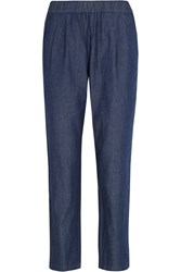 Equipment Hadley Cotton Chambray Tapered Pants Blue