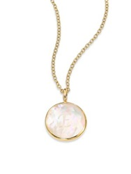 Ippolita Lollipop Mother Of Pearl Clear Quartz And 18K Yellow Gold Letter 'E' Charm