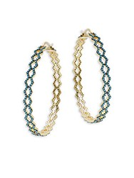 Noir Turquoise Studded Hinged Hoop Earrings 4In Gold Turquoise