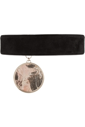 Givenchy Gold Tone Suede And Marble Choker