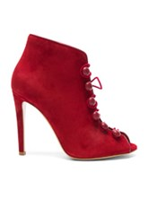 Gianvito Rossi Suede And Leather Booties In Red
