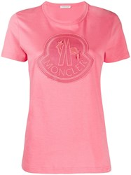 Moncler Embroidered Logo Patch T Shirt Pink