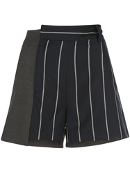 Monse Pinstriped Patchwork Shorts 60