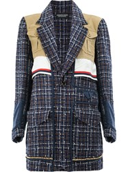 Undercover Checked Loose Knit Jacked Women Silk Cotton Acrylic Wool 1 Blue