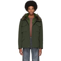 Yves Salomon Green Down Gabardine Coat