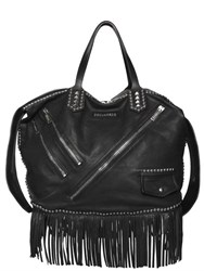 Dsquared Punk Studded And Fringed Leather Bag