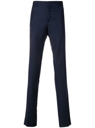 Salvatore Ferragamo Slim Fit Tailored Trousers Virgin Wool Blue