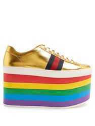 Gucci Peggy Low Top Rainbow Platform Trainers Gold Multi