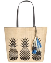 Inc International Concepts Aadi Pineapple Straw Tote Only At Macy's Black Tan
