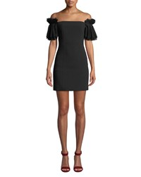 Elliatt Marble Pleated Sleeve Mini Dress Black