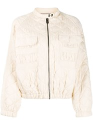 Zadig And Voltaire Bubble Quilted Bomber Jacket Neutrals