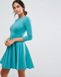 Closet London Long Sleeve Ponti Skater Dress Mint Green