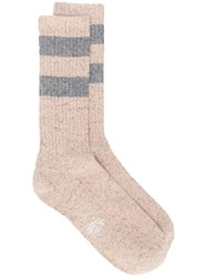 Eleventy Stripe Knitted Socks Nude And Neutrals