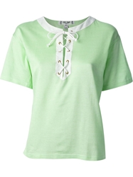 Celine Vintage Lace Up Placket T Shirt Green