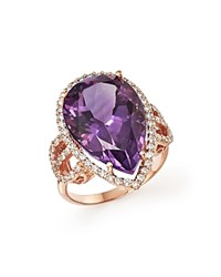 Bloomingdale's Amethyst And Diamond Statement Ring In 14K Rose Gold Purple White