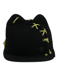 Maison Michel Stitch Detail Straight Peak Hat Black