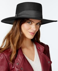 Nine West High Crown Felt Boater Hat Black