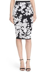 Women's Milly Knit Floral Jacquard Pencil Skirt Black Ivory