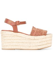 Paloma Barcelo Wedge Sandals Brown