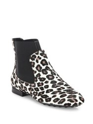 Tod's New Beatle Leopard Print Calf Hair Booties White Black