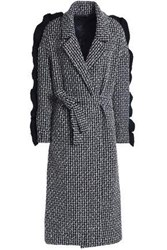 Mother Of Pearl Ruffle Trimmed Wool Blend Tweed Coat Midnight Blue