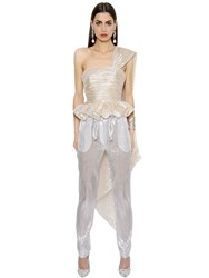 Ingie Draped Silk Muslin Lame Bustier Top