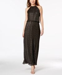 Msk Metallic Dot Print Halter Gown Black Gold