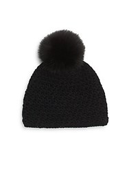 Saks Fifth Avenue Fox Fur Pom Pom Hat Black