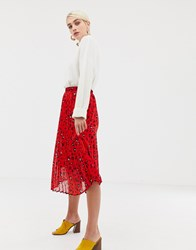 Selected Femme Abstract Leopard Print Pleated Skirt Red