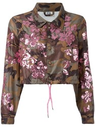 Gcds Sequined Camouflage Print Cropped Jacket Women Polyamide Xs Green