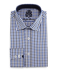 English Laundry Check Woven Dress Shirt Blk Dk Blu