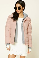 Forever 21 Hooded Puffer Jacket Blush