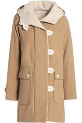 Vanessa Bruno Faux Shearling Lined Wool Blend Coat Sand