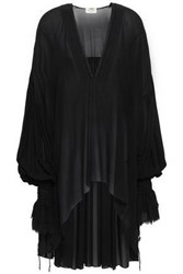 Saint Laurent Woman Frayed Draped Silk Georgette Tunic Black