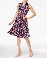 Charter Club Fit And Flare Shirtdress Only At Macy's Intrepid Blue Floral