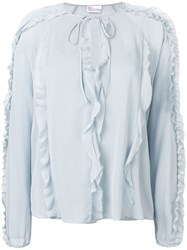 Red Valentino Ruffled Trim Blouse Blue