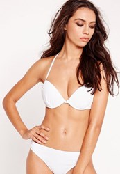 Missguided Underwired Push Up Bikini Top White Mix And Match
